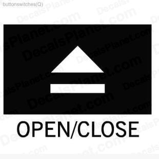 Open Close button listed in useful signs decals.