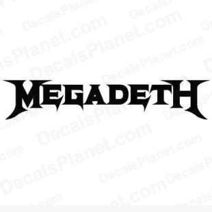 Megadeth listed in music and bands decals.