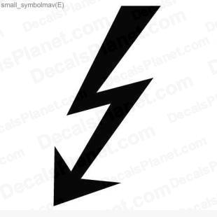 Lightning jolt (electric current) listed in useful signs decals.