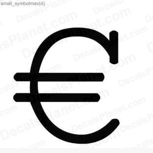 Euro symbol 3 listed in useful signs decals.
