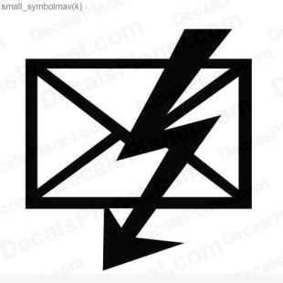 Text message or e-mail with lightning listed in useful signs decals.