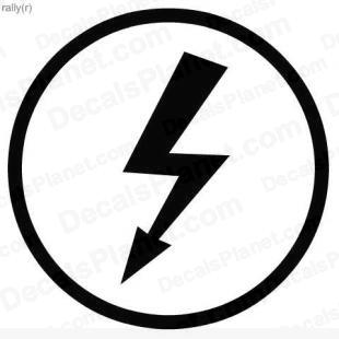 Thunder bolt arrow sign listed in useful signs decals.