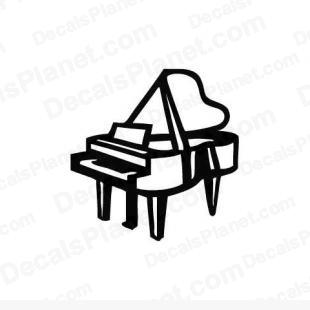 Piano listed in music and bands decals.
