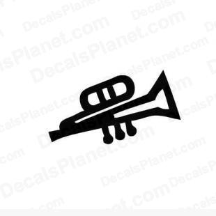 Trumpet instrument listed in music and bands decals.