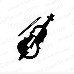 Cello instrument listed in music and bands decals.