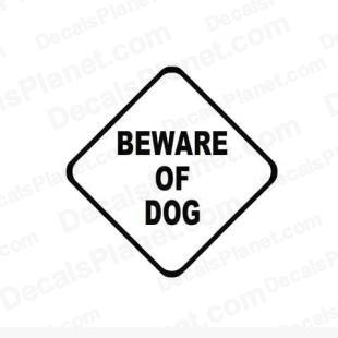 Beware of dog logo listed in useful signs decals.