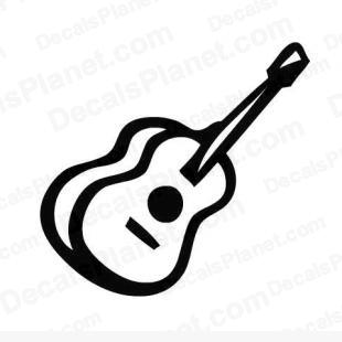 Folk guitar instrument listed in music and bands decals.