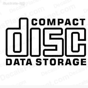 Compact disc data storage listed in computer decals.