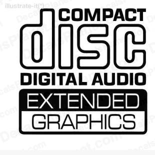 Compact disc digital audio extended graphics listed in computer decals.