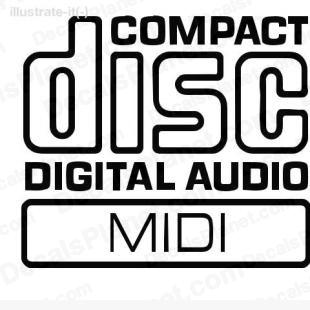 Compact disc digital audio midi listed in computer decals.