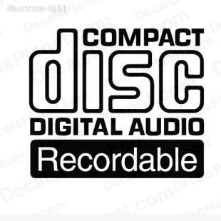 Compact disc digital audio recordable listed in computer decals.