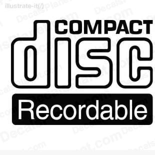 Compact disc recordable listed in computer decals.