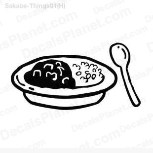 Food plate (rice and stew) listed in cartoons decals.