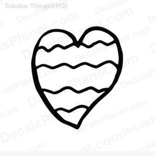 Wave heart (with waves inside) listed in cartoons decals.