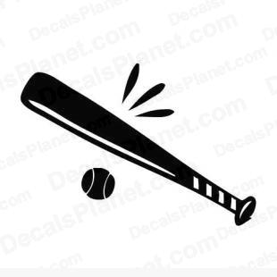 Baseball bat and ball listed in sports decals.
