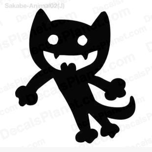 Black cat drawing listed in cartoons decals.