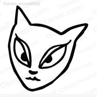 Cat female face drawing listed in cartoons decals.