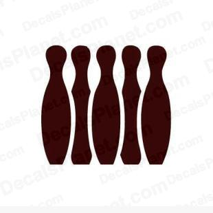 Bowling pins listed in sports decals.