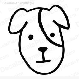 Dog face simple drawing listed in cartoons decals.