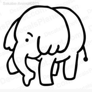Elephant drawing listed in cartoons decals.