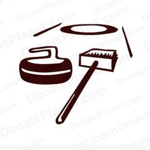 Curling broom and rock listed in sports decals.