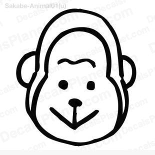 Monkey head drawing 3 listed in cartoons decals.