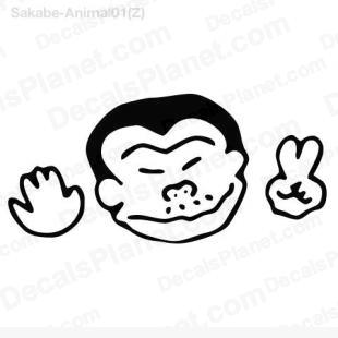 Monkey japanese peace listed in cartoons decals.
