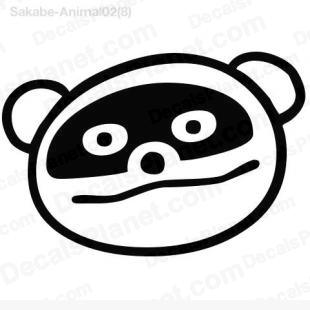 Panda face drawing listed in cartoons decals.
