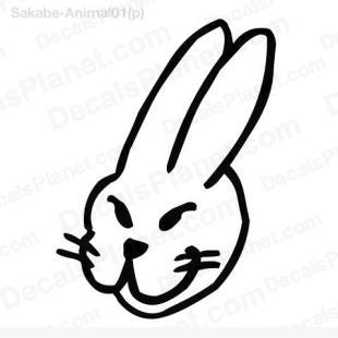 Rabbit head listed in cartoons decals.