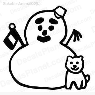 Snowman with dog listed in cartoons decals.