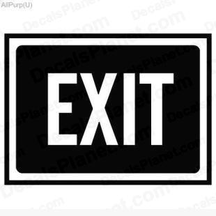 Exit sign listed in useful signs decals.