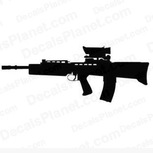 Enfield L85A2 (SA80) listed in firearm companies decals.
