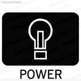 Power button listed in useful signs decals.